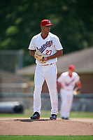 Auburn Doubledays starting pitcher Tomas Alastre (27) gets ready to deliver a pitch during the first game of a doubleheader against the Mahoning Valley Scrappers on July 2, 2017 at Falcon Park in Auburn, New York.  Mahoning Valley defeated Auburn 3-0.  (Mike Janes/Four Seam Images)