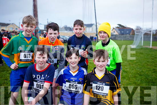 Ready for action at the first cross country competition held by Cumann na mBunscol Chairrai in the Caherslee GAA pitch in Tralee on Thursday afternoon last. Kneeing l-r, Paudie MacGearilt (West Kerry), Dean McElligott (Causeway) and Keilen O&rsquo;Sullivan (Glenbeigh National School).<br /> Standing L-r, Gearoid Evans (Fibough Keel), David Horan (Knocknagoshal), Tomas Kennedy (Scoil Eoin Balloonagh) and Dave Lucid (Ballymac).