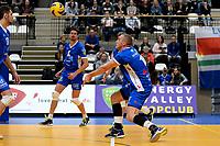 GRONINGEN - Volleybal, Abiant Lycurgus - Inter Rijswijk, Alfa College , Eredivisie , seizoen 2017-2018, 21-10-2017 Lycurgus speler Dennis Borst bij zijn eerste optreden
