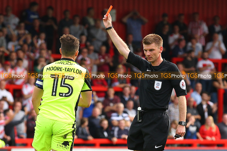 Jordan Moore-Taylor of Exeter City is shown a red card and sent off by referee Ollie Yates during Stevenage vs Exeter City, Sky Bet EFL League 2 Football at the Lamex Stadium on 24th September 2016