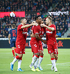 08.08.2019 FC Midtjylland v Rangers: Scott Arfield celebrates no 4 for Rangers with James Tavernier and Alfredo Morelos