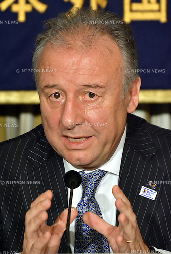 December 16, 2013, Tokyo, Japan - Alberto Zaccheroni, the Italian head coach of japan's national football team, speaks before the foreign and domestic media during a news conference at Tokyo's Foreign Correspondents' Club of Japan on Monday, December 16, 2013. Zaccheroni and his 11 in the Samurai Blue will meet Ivory Coast, Colombia and Greece in the 2014 FIFA World Cup elimination round slated for June in Brazil. (Photo by Natsuki Sakai/AFLO)