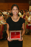 "STANFORD, CA - June 12:  Hilary Barte accepts her Block ""S"" Outstanding Female Freshman award during the 2008 Athletic Board Award Luncheon at the Ford Center in Stanford, California."