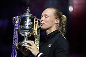 February 3rd 2019. St Petersburg, Russia; Kiki Bertens of Netherlands holds the trophy of the St. Petersburg Ladies Trophy-2019 tennis tournament final match versus Donna Vekic of Croatia