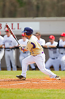 Luke Gragg (5) of the Western Carolina Catamounts follows through on his swing against the Davidson Wildcats at Wilson Field on March 10, 2013 in Davidson, North Carolina.  The Catamounts defeated the Wildcats 5-2.  (Brian Westerholt/Four Seam Images)