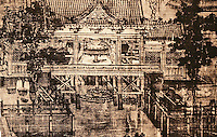 China:  Chinese Technology--Painting of a hydraulic mill. Five dynasties 907-960 A.D. Believed to be the work  of Wei Kian.
