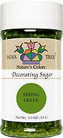 India Tree Nature's Colors natural Spring Green Decorating Sugar, India Tree Decorating Sugar, natural sprinkles made with natural food color from plant-based ingredients
