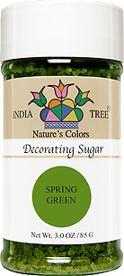 10253 Nature's Colors Spring Green Decorating Sugar, Small Jar 3.0 oz, India Tree Storefront