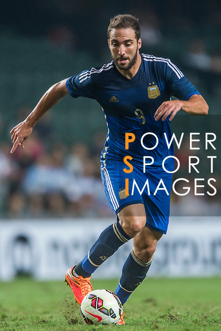Gonzalo Higuain of Argentina in action during the HKFA Centennial Celebration Match between Hong Kong vs Argentina at the Hong Kong Stadium on 14th October 2014 in Hong Kong, China. Photo by Aitor Alcalde / Power Sport Images