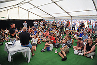 Bath Rugby Head Coach Mike Ford gives a Q&A to supporters. Bath Rugby Family Festival of Rugby, on August 8, 2015 at the Recreation Ground in Bath, England. Photo by: Patrick Khachfe / Onside Images