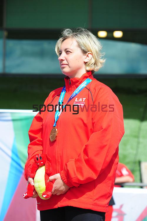 IPC European Athletics Championship 2014<br /> Swansea University<br /> <br /> Medal ceremony: Women's discus throw F38.<br /> Gold medal: Viktorya Yasevych (RUS)<br /> Silver medal: Irina Vertinskaya (RUS)<br /> Bronze medal: Ingrida Priede (LAT)<br /> <br /> 23.08.14<br /> Chris Vaughan-SPORTINGWALES