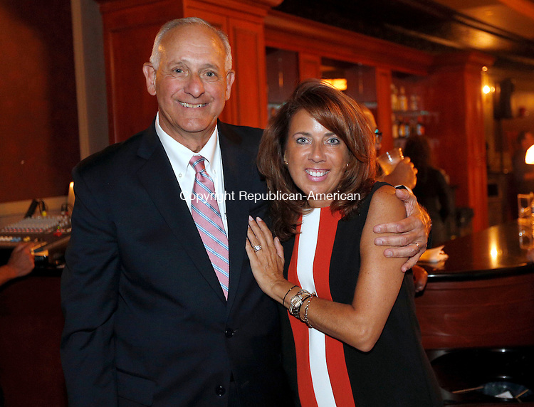 Waterbury, CT- 13 September 2016-091316CM15-   Social moments from left, Ron Pugliese, chairman of the Waterbury Palace Board of Directors and Lynnette Letsky Piombo with the Palace Theatre development committee,  are photographed during a kick-off event dinner & a Show at the Palace Theater in Waterbury on Tuesday.  Christopher Massa Republican-American