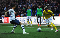 Leeds United's Ezgjan&nbsp;Alioski under pressure from Preston North End's Lukas Nmecha<br /> <br /> Photographer Kevin Barnes/CameraSport<br /> <br /> The EFL Sky Bet Championship - Preston North End v Leeds United -Tuesday 9th April 2019 - Deepdale Stadium - Preston<br /> <br /> World Copyright &copy; 2019 CameraSport. All rights reserved. 43 Linden Ave. Countesthorpe. Leicester. England. LE8 5PG - Tel: +44 (0) 116 277 4147 - admin@camerasport.com - www.camerasport.com