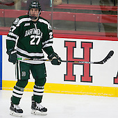 Brandon Kirk (Dartmouth - 27) - The Harvard University Crimson tied the visiting Dartmouth College Big Green 3-3 in both team's first game of the season on Saturday, November 1, 2014, at Bright-Landry Hockey Center in Cambridge, Massachusetts.