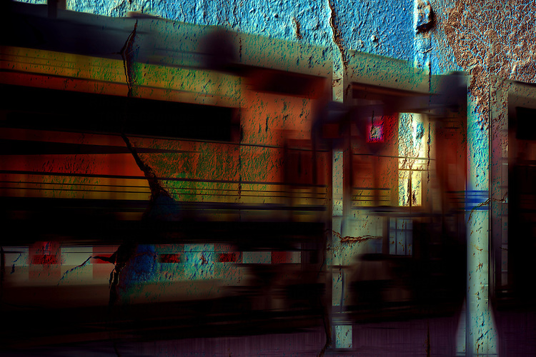 The montage of a blurred train at a crossing with cracked iron.