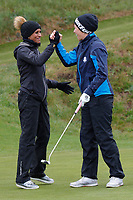 Naga Munchetty and Rachel Finnis celebrate  during the Hero Pro-am at the Betfred British Masters, Hillside Golf Club, Lancashire, England. 08/05/2019.<br /> Picture David Kissman / Golffile.ie<br /> <br /> All photo usage must carry mandatory copyright credit (&copy; Golffile | David Kissman)
