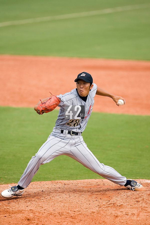 19 August 2007: Pitcher #28 Mikinori Kato pitches during the Japan 4-3 victory over France in the Good Luck Beijing International baseball tournament (olympic test event) at the Wukesong Baseball Field in Beijing, China.