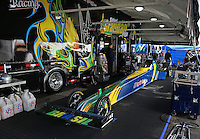 Feb. 24, 2013; Chandler, AZ, USA; NHRA pit area of top fuel dragster driver Sidnei Frigo during the Arizona Nationals at Firebird International Raceway. Mandatory Credit: Mark J. Rebilas-