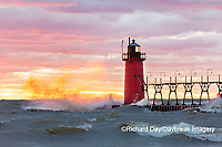 64795-02414 South Haven Lighthouse at sunset South Haven,  MI