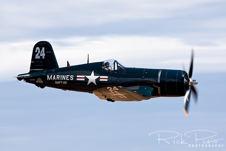 Chance-Vought F4U Corsair in flight during the 2010 Reno National Championship Air Races at Stead Field near Reno, Nevada.