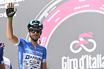 Giulio Ciccone (ITA) Bardiana-CSF wearing the Maglia Azzurra at sign on before the start of Stage 19 of the 2018 Giro d'Italia, running 185km from Venaria Reale to Bardonecchia featuring the Cima Coppi of this Giro, the highest climb on the Colle delle Finestre with its gravel roads, before finishing on the final climb of the Jafferau, Italy. 25th May 2018.<br /> Picture: LaPresse/Fabio Ferrari | Cyclefile<br /> <br /> <br /> All photos usage must carry mandatory copyright credit (&copy; Cyclefile | LaPresse/Fabio Ferrari)