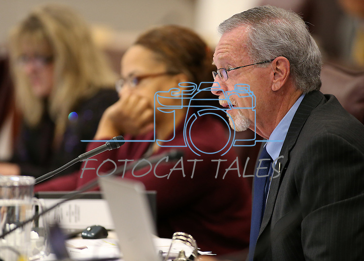 Nevada Assemblyman Glenn Trowbridge, R-Las Vegas, works in committee at the Legislative Building in Carson City, Nev., on Tuesday, Feb. 10, 2015. <br /> Photo by Cathleen Allison