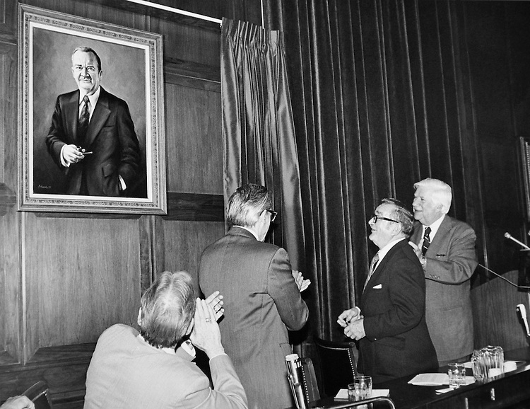 """Speaker of the House, Rep. Thomas Phillip """"Tip"""" O'Neill, House Majority Leader at unveiling ceremony. (Photo by CQ Roll Call)"""