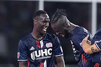 Foxborough, Massachusetts - July 29, 2017:  The New England Revolution (blue/white) beat Philadelphia Union FC  (white/black) 3-0 in a Major League Soccer (MLS) match at Gillette Stadium.