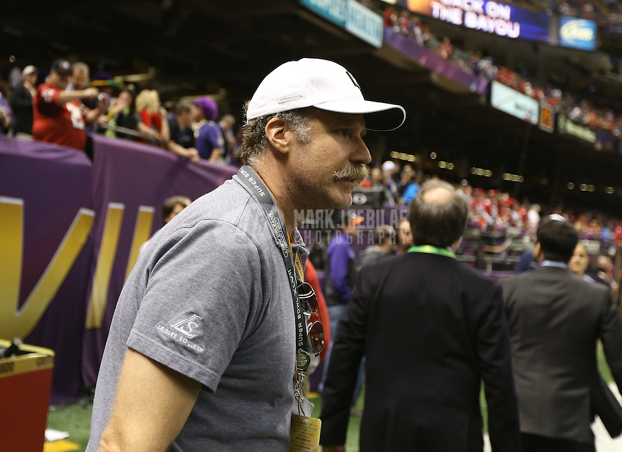 Feb 3, 2013; New Orleans, LA, USA; Movie actor Will Ferrell in attendance before Super Bowl XLVII between the San Francisco 49ers and the Baltimore Ravens at the Mercedes-Benz Superdome. Mandatory Credit: Mark J. Rebilas-