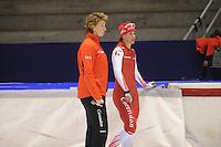 SCHAATSEN: HEERENVEEN: 23-09-2013, IJsstadion Thialf, Training Team Corendon, Renate Groenewold (trainer coach) - Marrit Leenstra, ©foto Martin de Jong