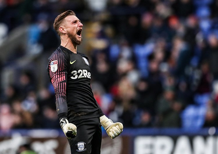 Preston North End's goalkeeper Declan Rudd celebrates his side's second goal <br /> <br /> Photographer Andrew Kearns/CameraSport<br /> <br /> The EFL Sky Bet Championship - Bolton Wanderers v Preston North End - Saturday 9th February 2019 - University of Bolton Stadium - Bolton<br /> <br /> World Copyright © 2019 CameraSport. All rights reserved. 43 Linden Ave. Countesthorpe. Leicester. England. LE8 5PG - Tel: +44 (0) 116 277 4147 - admin@camerasport.com - www.camerasport.com