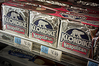 Klondike brand ice cream bars are seen in a freezer in a supermarket in New York on Monday, June 18, 2013. Klondike is a brand of Good Humor-Breyers which is part of the Unilever conglomerate.  (© Richard B. Levine)