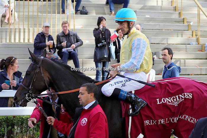 October 06, 2019, Paris (France) - Villa Marina (5) with Olivier Peslier up after winning the Prix de l'Opéra Longines (Gr I) on October 6 in ParisLongchamp. [Copyright (c) Sandra Scherning/Eclipse Sportswire)]