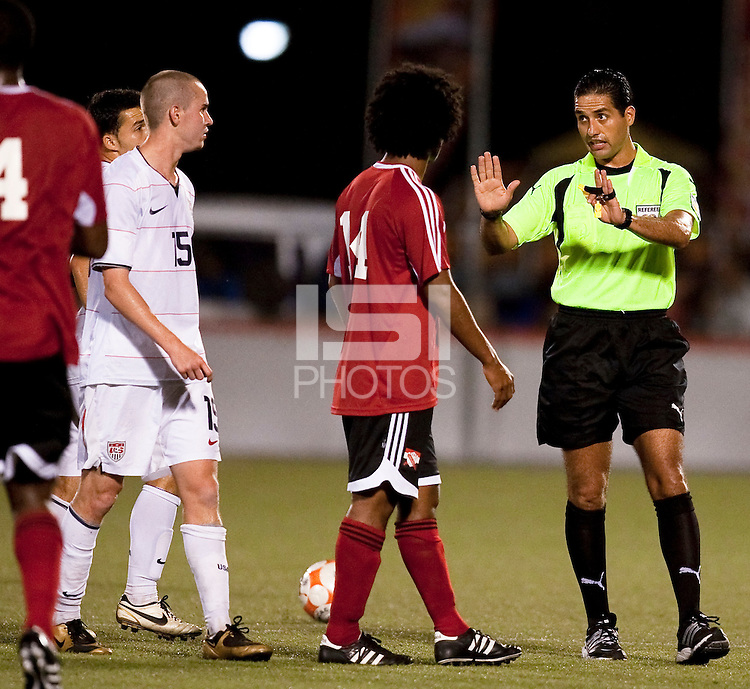Referee, Roberto Garcia. US Under 20 Men's National Team played to a scoreless draw vs Trinidad & Tobago, advancing after winning 4-3 on penalty kicks at the Marvin Lee Stadium in Macoya, Trinidad on March 13th, 2009 during the 2009 CONCACAF U-20 Championship.