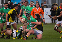 Brayden Iose is tackled during the Mitre 10 Cup preseason rugby match between the Wellington Lions and Manawatu Turbos at Otaki Domain in Otaki, New Zealand on Sunday, 6 August 2017. Photo: Dave Lintott / lintottphoto.co.nz