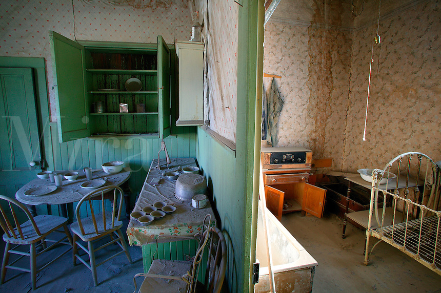 The Miller House, in the historic ghost town of Bodie.  Bodie was once a bustling gold mining town, Bodie State Historic Park, California.