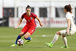 WASHINGTON, DC - MARCH 07: Lucy Bronze (ENG) (4) and Sara Dabritz (GER) (13). The England Women's National Team played the Germany Women's National Team as part of the SheBelieves Cup on March 7, 2017, at RFK Stadium in Washington, DC. Germany won the game 1-0.