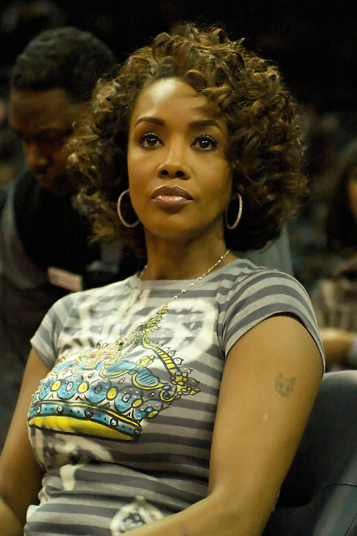 Vivica Fox sitting court-side at the CIAA Tournament 2007.