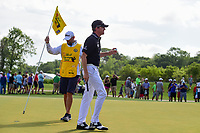 Jimmy Walker (USA) sinks his putt on 1 during round 3 of the Shell Houston Open, Golf Club of Houston, Houston, Texas, USA. 4/1/2017.<br /> Picture: Golffile | Ken Murray<br /> <br /> <br /> All photo usage must carry mandatory copyright credit (&copy; Golffile | Ken Murray)
