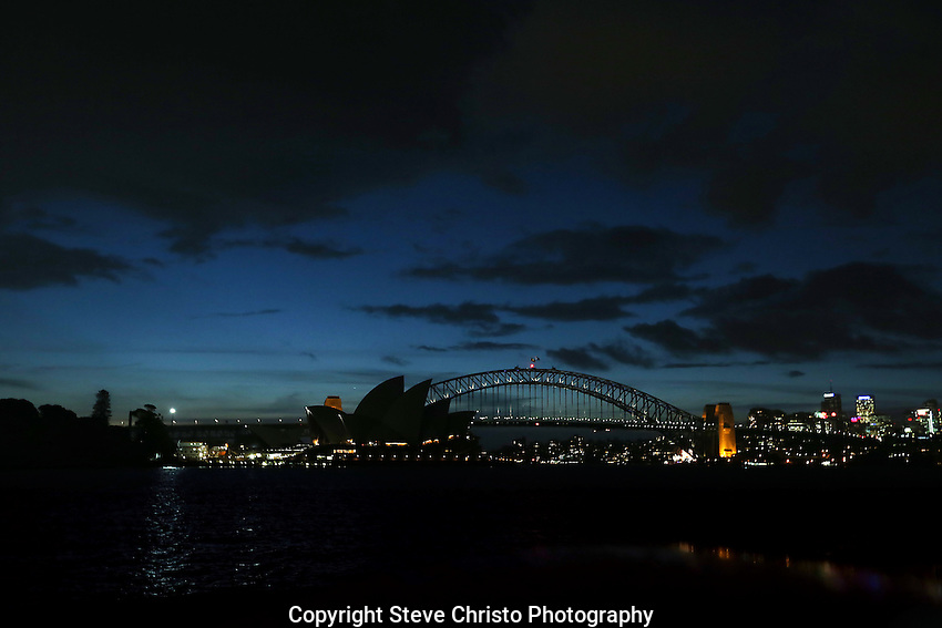 Sydney Harbour Bridge the Opera House and city buildings. Sydney, Australia. Monday May 27th 2013. Photo:( Steve Christo).