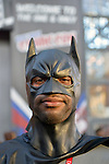 Manhattan, New York City, New York, USA. October 10, 2015. Cosplayer KYLE of Deer Park, NY,  is portraying Batman at the 10th Annual New York Comic Con. NYCC 2015 is expected to be the biggest one ever, with over 160,000 attending during the 4 day ReedPOP event, from October 8 through Oct 11, at Javits Center in Manhattan