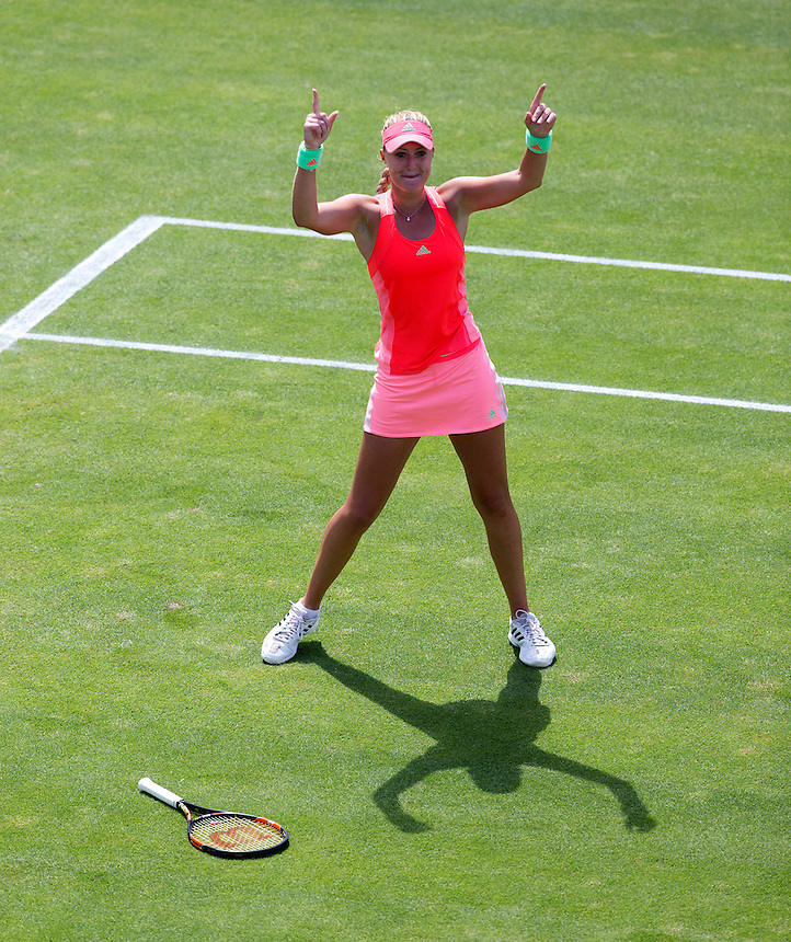Kristina Mladenovic (FRA) celebrates her victory over [1] Simona Halep (ROU) in their Women&rsquo;s Singles Quarter Final match today[1] Simona Halep (ROU)<br /> <br /> Photographer Stephen White/CameraSport<br /> <br /> Tennis - WTA International - Aegon  Classic - Day 5 - Friday 19th June 2015 - Edgbaston Priory Club - Birmingham<br /> <br /> &copy; CameraSport - 43 Linden Ave. Countesthorpe. Leicester. England. LE8 5PG - Tel: +44 (0) 116 277 4147 - admin@camerasport.com - www.camerasport.com