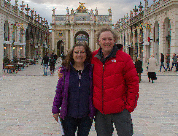 John and Beth sightseeing after skiing the high Alps in France.  Relaxing at Stanislas Square in Nancy, France.  Lots of locals and not many tourists this time of year.
