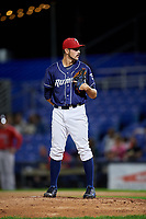 Binghamton Rumble Ponies relief pitcher Stephen Nogosek (10) looks in for the sign during a game against the Portland Sea Dogs on August 31, 2018 at NYSEG Stadium in Binghamton, New York.  Portland defeated Binghamton 4-1.  (Mike Janes/Four Seam Images)