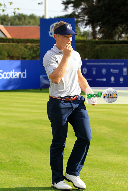 Brad Dalke (USA) on the 1st tee during Day 2 Singles for the Junior Ryder Cup 2014 at Blairgowrie Golf Club on Tuesday 23rd September 2014.<br /> Picture:  Thos Caffrey / www.golffile.ie