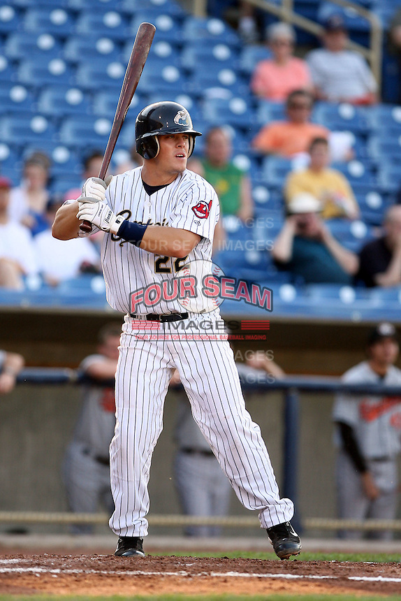 June 11th 2008:  Catcher Adam Davis of the Lake County Captains, Class-A affiliate of the Cleveland Indians, during a game at Classic Park in Eastlake,OH.  Photo by:  Mike Janes/Four Seam Images