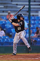 Missoula Osprey designated hitter Joe Robbins (22) at bat during a Pioneer League game against the Great Falls Voyagers at Centene Stadium at Legion Park on August 19, 2019 in Great Falls, Montana. Missoula defeated Great Falls 1-0 in the second game of a doubleheader. (Zachary Lucy/Four Seam Images)
