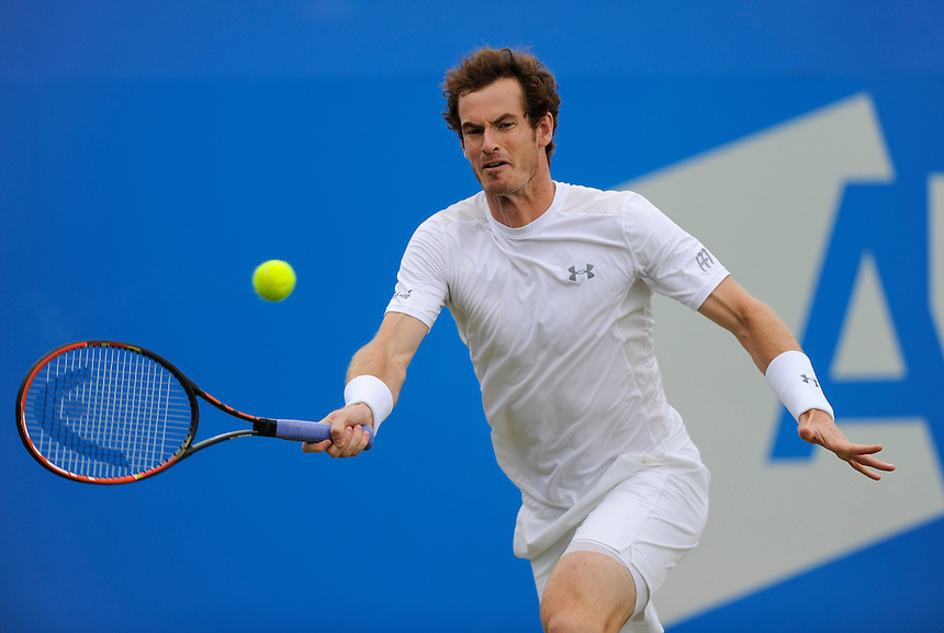 Andy Murray (GBR) in action today during his victory over Kevin Anderson (RSA) in their Men&rsquo;s Singles Final match - Andy Murray (GBR) def Kevin Anderson (RSA) 6-3, 6-4<br /> <br /> Photographer Ashley Western/CameraSport<br /> <br /> Tennis - ATP 500 World Tour - AEGON Championships- Day 7 - Sunday 21st June 2015 - Queen's Club - London <br /> <br /> &copy; CameraSport - 43 Linden Ave. Countesthorpe. Leicester. England. LE8 5PG - Tel: +44 (0) 116 277 4147 - admin@camerasport.com - www.camerasport.com