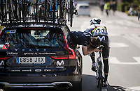 mid-race saddle adjustment for world champion Alejandro Valverde (ESP/Movistar)<br /> <br /> 74th Dwars door Vlaanderen 2019 (1.UWT)<br /> One day race from Roeselare to Waregem (BEL/183km)<br /> <br /> ©kramon