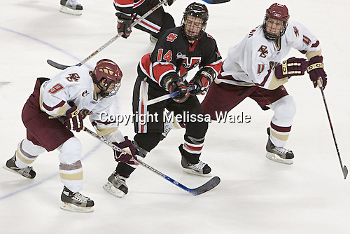 Nathan Gerbe, Jason Blain, Mike Brennan - The Boston College Eagles defeated Northeastern University Huskies 5-3 on Saturday, November 19, 2005, at Kelley Rink in Conte Forum at Chestnut Hill, MA.
